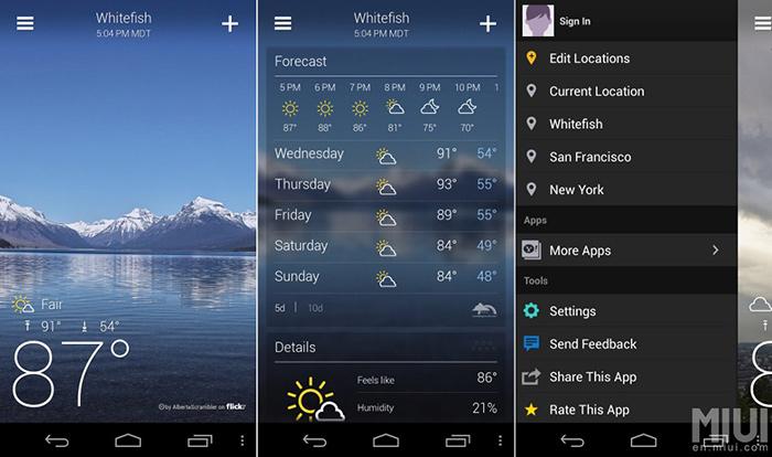 بهترین اپلیکیشن هواشناسی