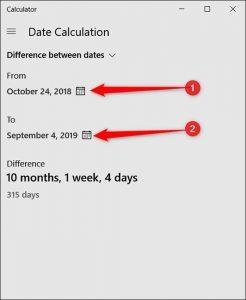 محاسبه تاریخ ماشین حساب ویندوز