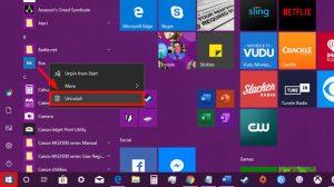 آموزش حذف برنامه در ویندوز 10