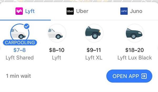رزرو کردن Uber یا Lyft در گوگل مپ
