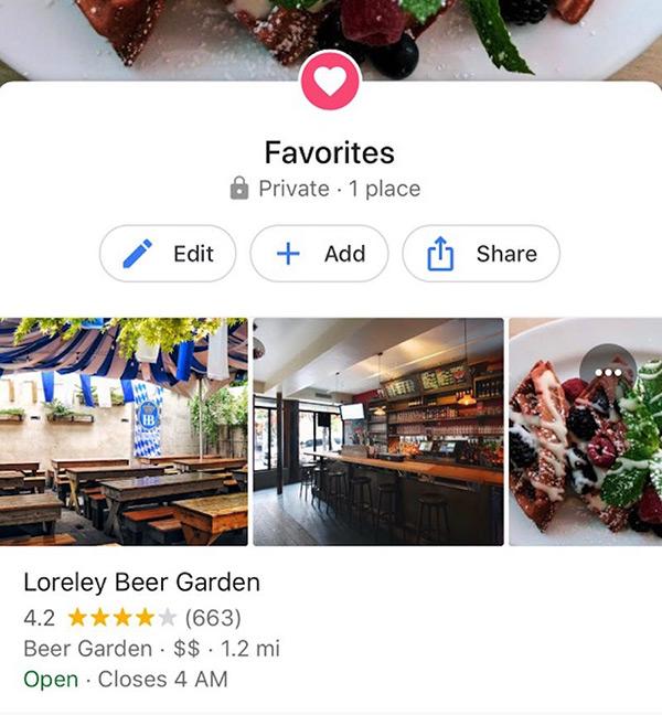 ذخیرهی یک فهرست از مکان های مورد علاقه
