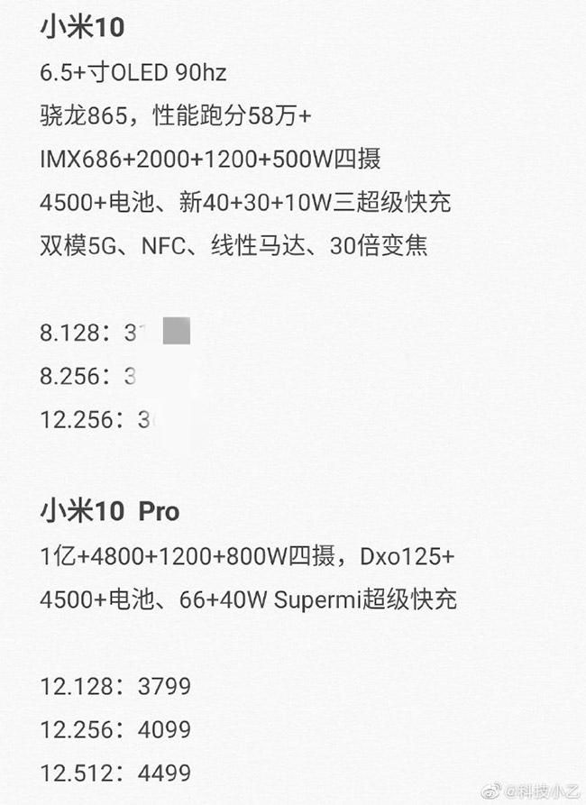 مشخصات شیائومی Mi 10 و Mi 10 پرو
