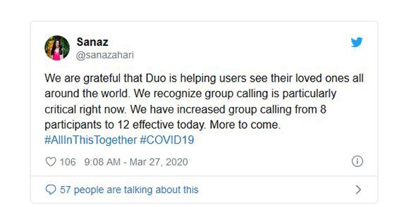 مکالمه گروهی 12 نفر با قابلیت جدید Google Duo