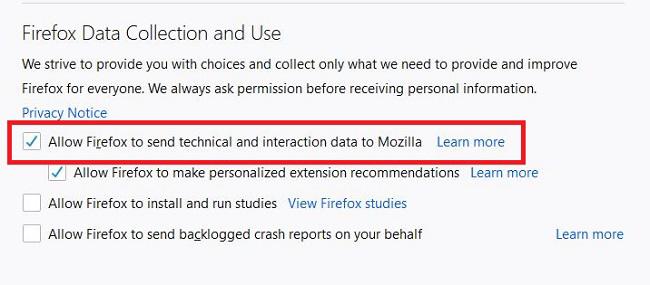 چگونه جلوی جمع آوری اطلاعات Firefox را بگیریم